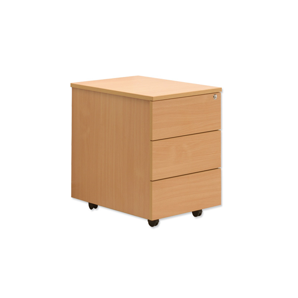 Three drawers pedestal with plastic laminate finish